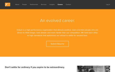 Screenshot of Jobs Page iridiumrisk.com - Iridium Risk Services - Careers - captured Nov. 26, 2016