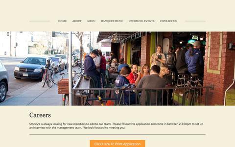 Screenshot of Jobs Page stoneysbarandgrill.com - Careers - Stoney's Bar & Grill - captured Dec. 16, 2016