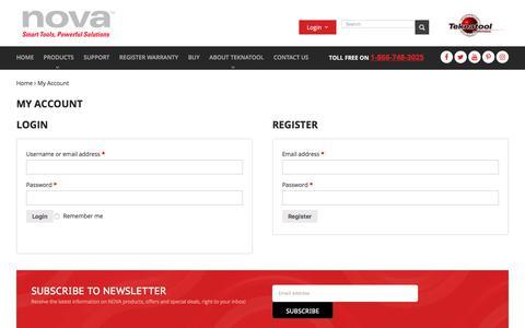 Screenshot of Signup Page teknatool.com - My Account - Nova - captured Nov. 26, 2017