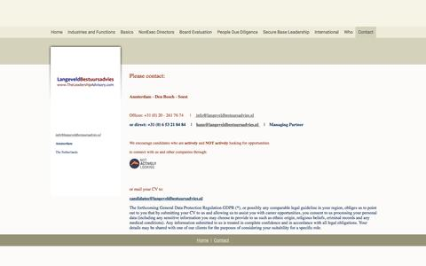 Screenshot of Contact Page langeveldbestuursadvies.nl - LangeveldBestuursadvies - Contact - captured May 14, 2017