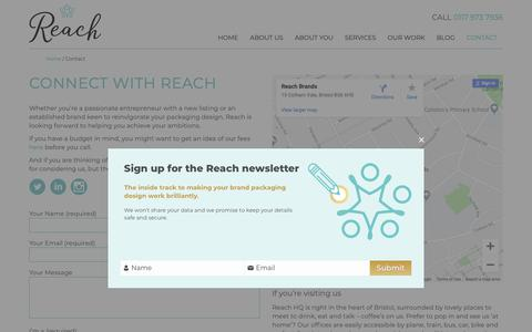 Screenshot of Contact Page reachbrands.co.uk - How to Connect with Reach Brands - +44 (0)117 973 7936 - captured Oct. 18, 2018