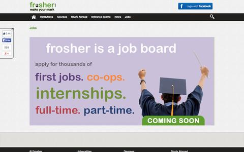 Screenshot of Jobs Page frosher.com - Jobs | First Jobs | Internships | Full Time | Part Time | Frosher - captured Sept. 22, 2014