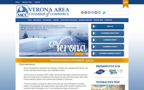 Screenshot of Home Page veronawi.com - Verona Area Chamber of Commerce - captured Feb. 14, 2016