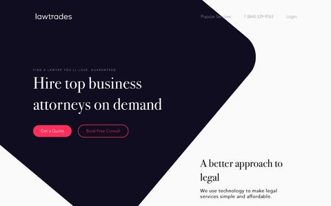 Screenshot of Home Page lawtrades.com - Handpicked Business lawyers. Fair Prices. Simple. - LawTrades - captured Nov. 23, 2016