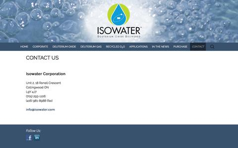 Screenshot of Contact Page isowater.com - CONTACT US - Deuterium-based Products from Isowater - captured Nov. 26, 2016