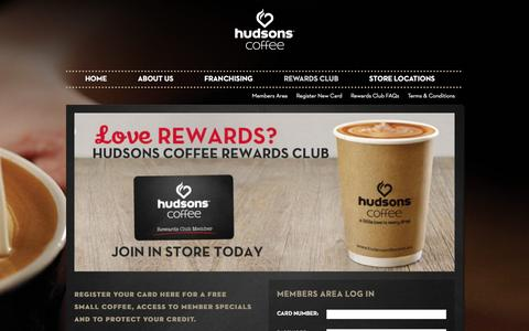 Screenshot of Login Page hudsonscoffee.com.au - Rewards Club | Hudsons Coffee - captured Dec. 13, 2015