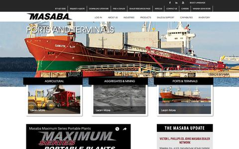 Screenshot of Home Page masabainc.com - Masaba Inc. | Conveyors for Aggregates, Agriculture, Asphalt and Coal - captured Sept. 20, 2018