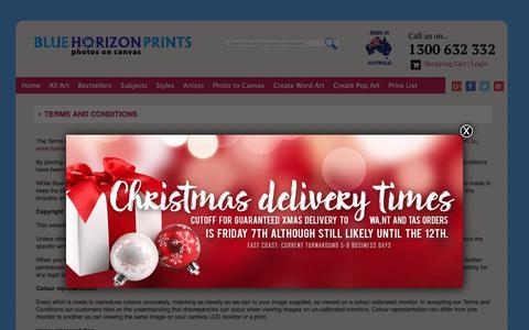 Screenshot of Terms Page bluehorizonprints.com.au - Terms & Conditions for Blue Horizon Prints on Canvas Australia - captured Dec. 9, 2018