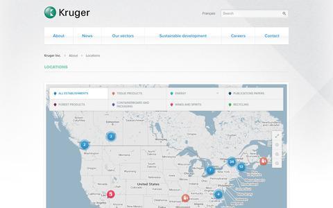 Screenshot of Locations Page kruger.com - Locations - Kruger Inc. - captured Oct. 6, 2014
