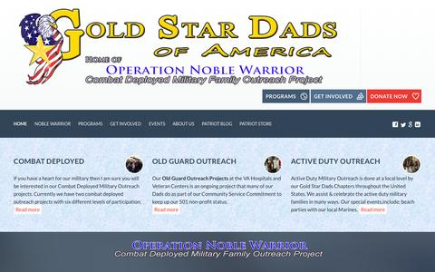 Screenshot of Home Page goldstardads.org - Gold Star Dads of America - Operation Noble Warrior - captured Sept. 19, 2015