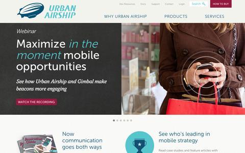 Screenshot of Home Page urbanairship.com - Urban Airship   Mobile Marketing Solutions - captured Jan. 15, 2015