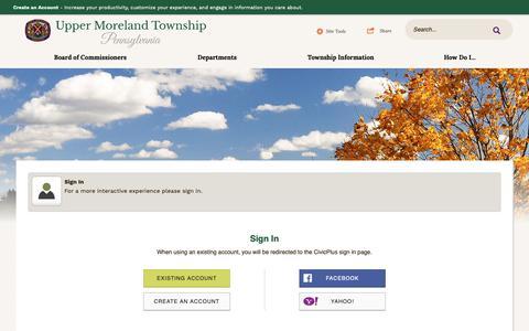 Screenshot of Login Page uppermoreland.org - Upper Moreland Township, PA - captured Oct. 19, 2018