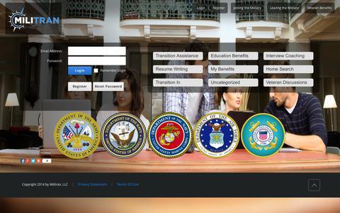 Screenshot of Home Page militran.com - Veterans Community - captured Oct. 6, 2014