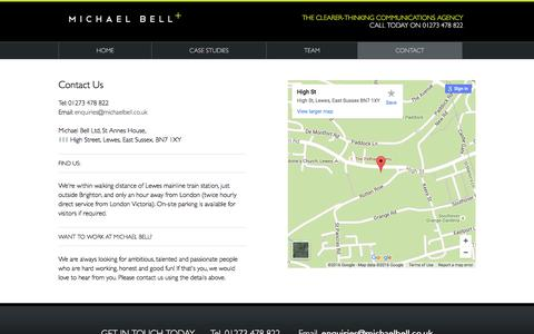 Screenshot of Contact Page michaelbell.co.uk - Michael Bell Ltd : CONTACT - captured Feb. 13, 2016