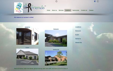 Screenshot of Locations Page allrfriends.com - Locations - captured Sept. 30, 2014