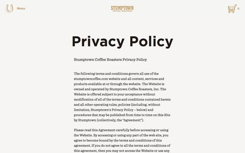 Screenshot of Privacy Page stumptowncoffee.com - Stumptown Coffee Roasters - Stumptown Coffee Roasters - captured Nov. 11, 2015