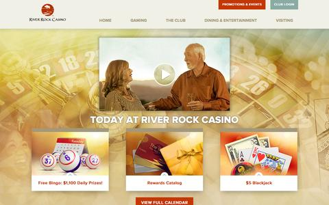 Screenshot of Home Page riverrockcasino.com - River Rock Casino | Sonoma County, CA - captured Feb. 23, 2016