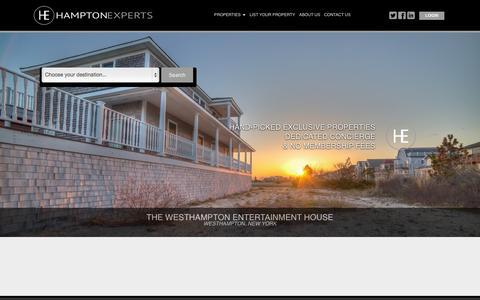 Screenshot of Home Page hamptonexperts.com - Hampton Experts - Vacation Rentals in  the New York, Southampton, Southampton Area - captured Sept. 29, 2014