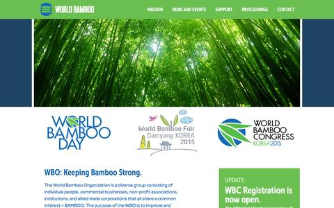 Screenshot of Home Page worldbamboo.net - World Bamboo Organization - captured Aug. 16, 2015