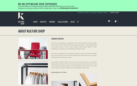 Screenshot of About Page kultureshop.in - About Kulture Shop   #ThisIsArt   Art by Kulture Shop   Art Prints &  Art Tees - captured Sept. 23, 2014