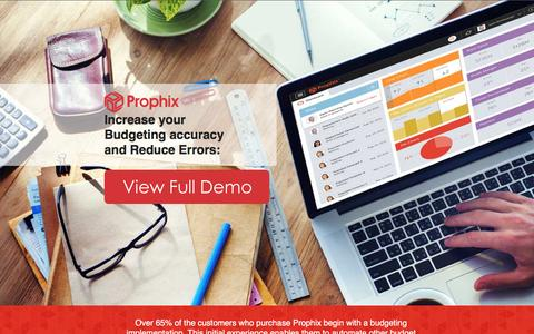 Screenshot of Landing Page prophix.com - Increase your Budgeting accuracy and Reduce Errors - captured May 27, 2017