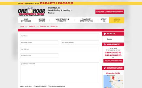 Screenshot of Contact Page onehourheatandair.com - Naples   Contact One Hour Air Conditioning & Heating - captured Feb. 10, 2018