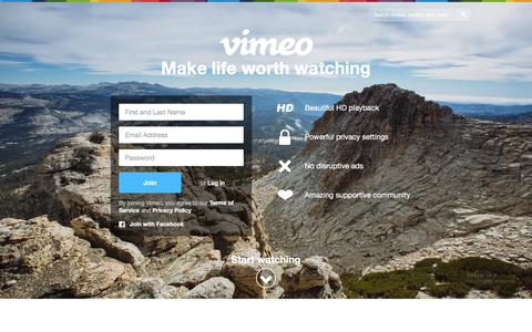 Screenshot of Home Page vimeo.com - Vimeo: Watch, upload and share HD videos with no ads - captured Dec. 15, 2015