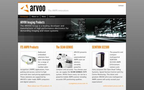 Screenshot of Home Page arvoo.com - Leading developer and manufacturer of high performance electronics for demanding imaging and vision systems • Arvoo Imaging Products - captured Oct. 4, 2014