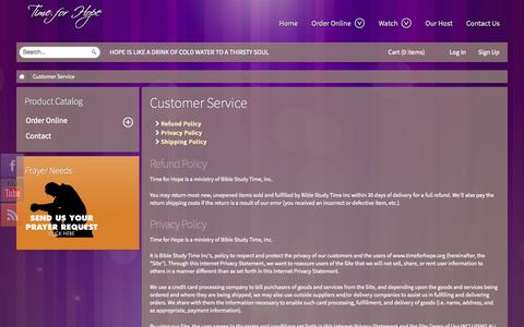 Screenshot of Support Page timeforhope.com - Customer Service - captured Oct. 5, 2014