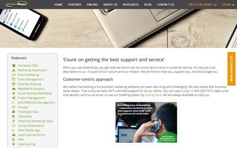 Screenshot of Support Page greenrope.com - GreenRope Customer Service :: Dedicated to YOU! - captured Jan. 7, 2016