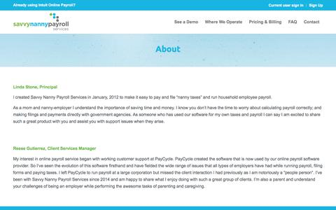 Screenshot of About Page savvynannypayrollservices.com - About – Savvy Nanny payroll services - captured July 7, 2018