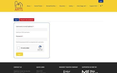 Screenshot of Login Page hopartscenter.org - User account | Hopkinton Arts - captured Sept. 29, 2018
