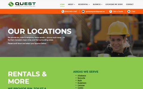 Screenshot of Locations Page questdisposal.ca - Quest Disposal and Recycling Locations in Alberta - captured Sept. 30, 2018
