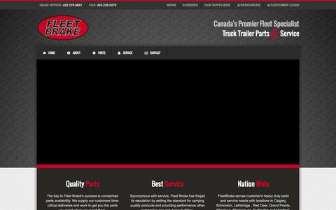 Screenshot of Home Page fleetbrake.com - Fleet Brake   Canada's Premier Heavy-Duty Truck and Trailer Parts and Service Company - captured Oct. 6, 2014