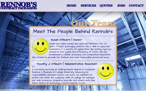 Screenshot of Team Page rennobs.com - People | Rennob's Contract Packaging - captured Oct. 7, 2014