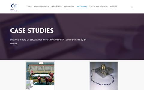 Screenshot of Case Studies Page bhsensors.com - Case Studies |  BH SENSORS - captured July 27, 2016