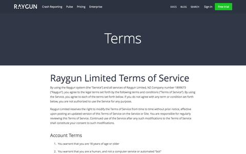 Screenshot of Terms Page raygun.io - Terms and Conditions | Raygun - captured Nov. 27, 2015