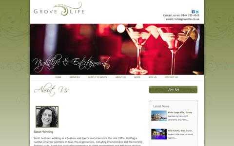 Screenshot of About Page grovelife.co.uk - Grove Life - About Us - captured Sept. 30, 2014
