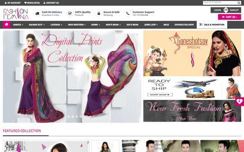 Screenshot of Home Page fashionfemina.com - Women Clothing Store India, Shopping Clothes Online For Ladies   Fashionfemina.com - captured Sept. 8, 2015