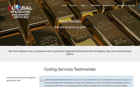 Screenshot of Testimonials Page girsinc.com - Testimonials | Global Integrated Reimbursement Services, Inc. - captured Aug. 9, 2017