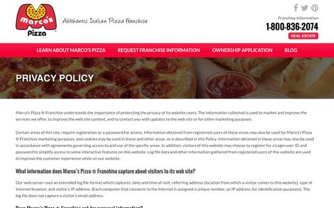 Screenshot of Privacy Page marcosfranchising.com - Privacy Policy - Marcos Pizza Franchising - captured Feb. 12, 2016