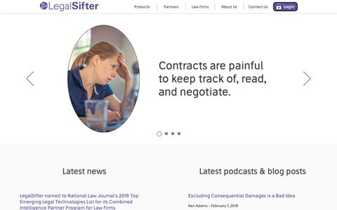 Screenshot of Home Page legalsifter.com - LegalSifter | We make contracts easier. - captured Feb. 16, 2019