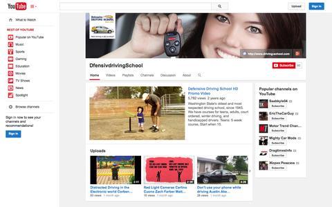 Screenshot of YouTube Page youtube.com - DfensivdrivingSchool  - YouTube - captured Oct. 31, 2014