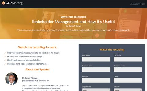Screenshot of Landing Page gotomeeting.com - Stakeholder Management and How it's Useful - captured May 6, 2018