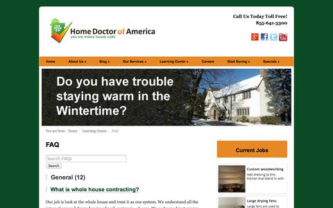Screenshot of FAQ Page homedoctorofamerica.com - FAQ - captured Sept. 30, 2014