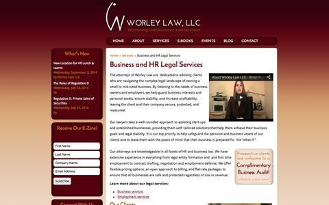 Screenshot of Services Page worleylawllc.com - Business and HR Legal Services | Services - captured Oct. 1, 2014