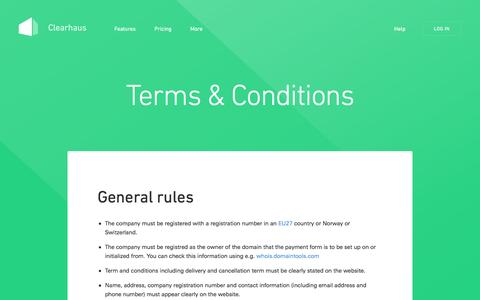 Screenshot of Terms Page clearhaus.com - Terms & Conditions | Clearhaus - captured May 9, 2017