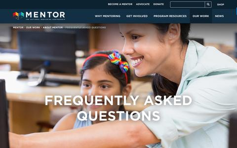 Screenshot of FAQ Page mentoring.org - Frequently Asked Questions - MENTOR - captured Oct. 1, 2018