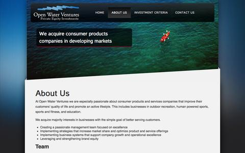 Screenshot of About Page openwaterventures.com - About Us | Open Water Ventures - captured Sept. 30, 2014