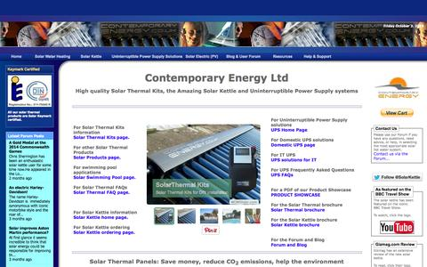 Screenshot of Home Page contemporaryenergy.co.uk - Solar Thermal Kits, solar water heating, the Amazing Solar Kettle, UPS Solutions, Solar Accessories - captured Oct. 3, 2014